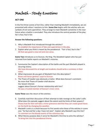 Macbeth GCSE English (Year 10)? - Yahoo Answers