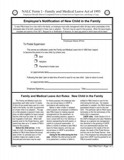 image about Usps Form 3971 Printable called NALC FMLA Styles - department 38