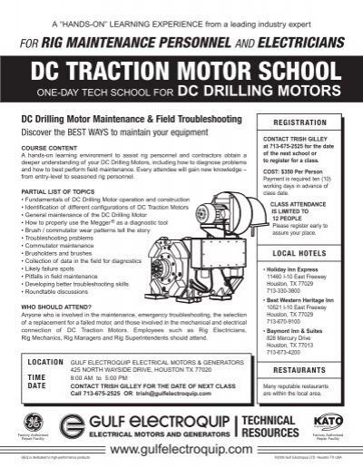 DC TRACTION MOTOR SCHOOL - Gulf Electroquip