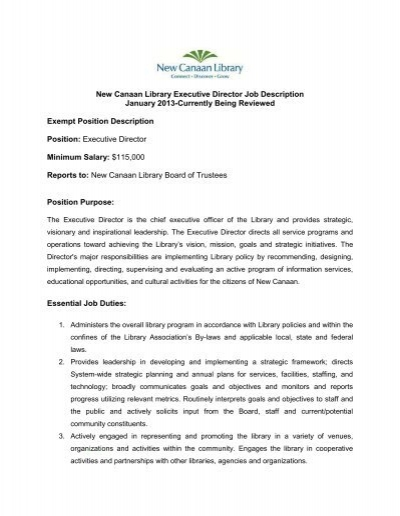Executive Director Job Description   Gossage Sager Associates