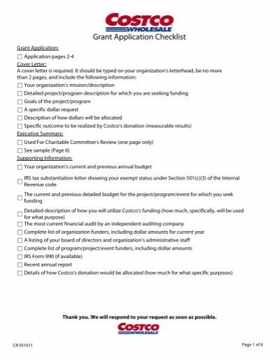 Grant Application Checklist  Costco