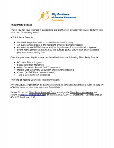 Third Party Events Thank You For Your Interest In Supporting Big