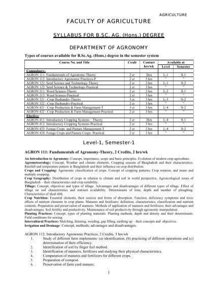 agriculture syllabus bangladesh