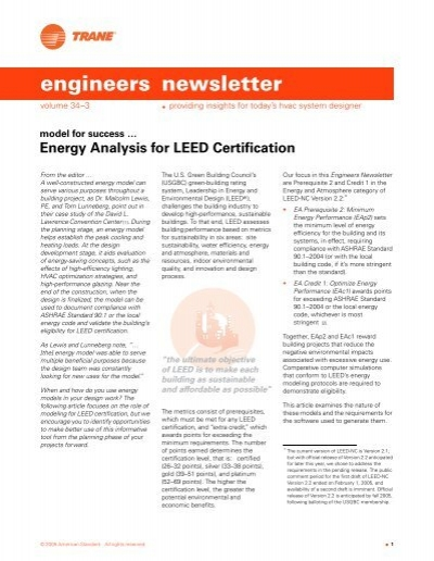 Energy Analysis For Leed Certification Trane