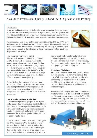 A Guide To Professional Quality Cd And Dvd Duplication Copytrax