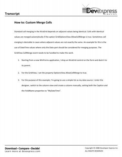 Custom Merge Cells - DevExpress