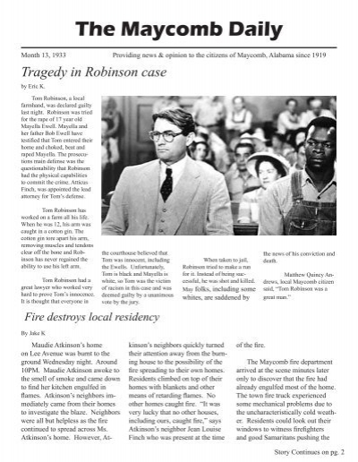 tom robinson trial article Each lesson plan is paired with a times article tolerating  examining the  facets of a criminal trial  on real-life cases similar to tom  robinson's.