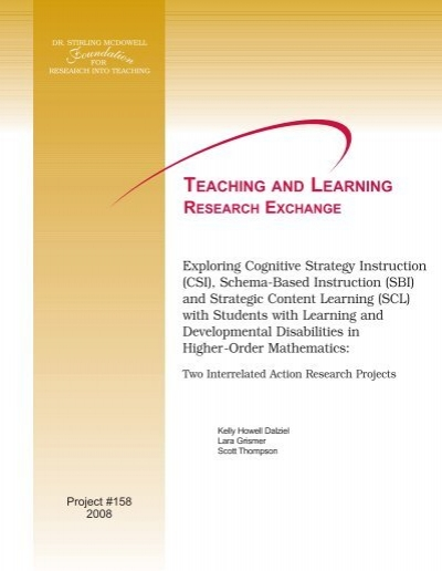 Exploring Cognitive Strategy Instruction Schema Based Instruction