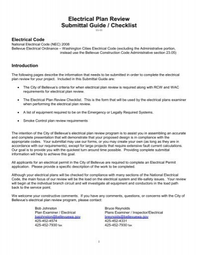 electrical plan review submittal guide checklist city of bellevue Hazardous Area Classification Guide Electrical Plan Guide #14