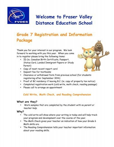 Grade 7 Registration Assignment Fraser Valley Distance Education