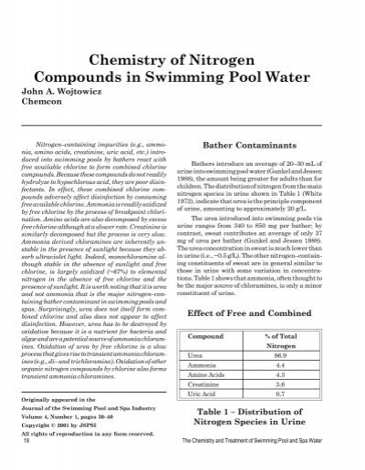 Chemistry Of Nitrogen Compounds In Swimming Pool Water Pleatco