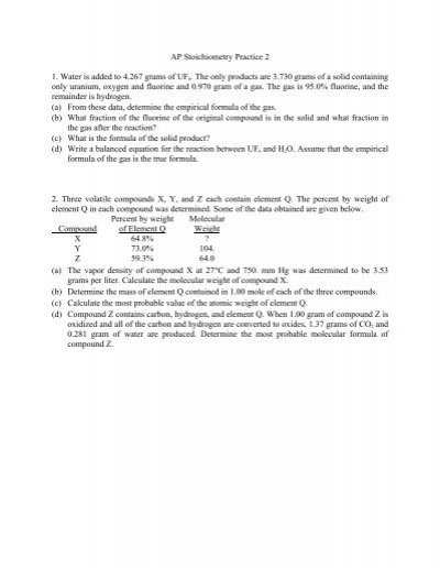 Stoichiometry Practice 2 answer key
