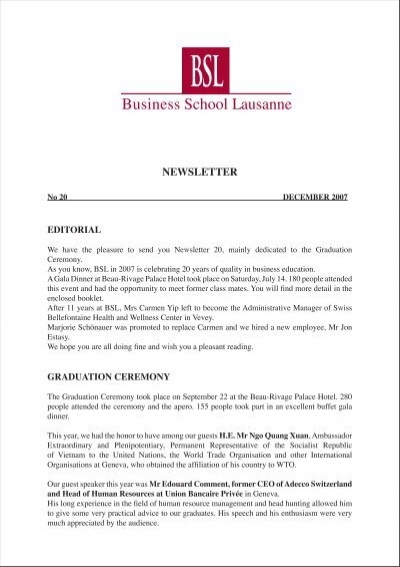 Newsletter Business School Lausanne