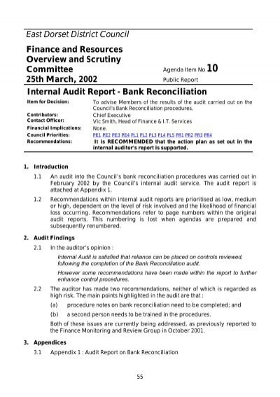 Internal Audit Report  Bank Reconciliation