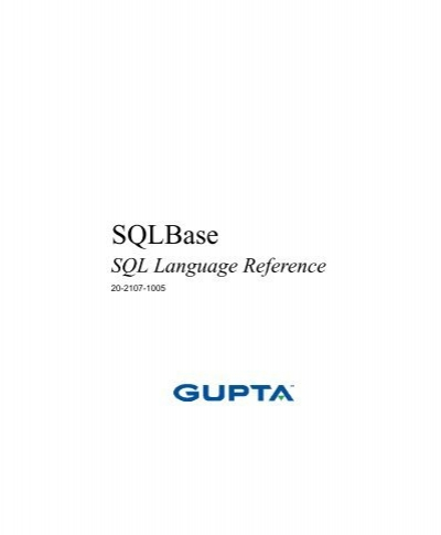 Gupta sqlbase manual