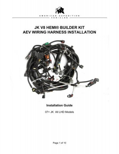 jk v8 hemi u00c2 u00ae builder kit aev wiring harness