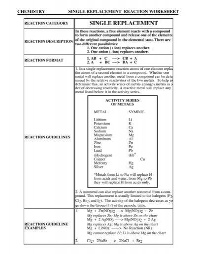 Single Replacement Reaction Worksheet