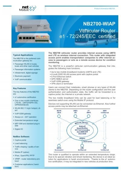 NB2700-WIAP Vehicular Router e1 - 72/245     - Sphinx Computer