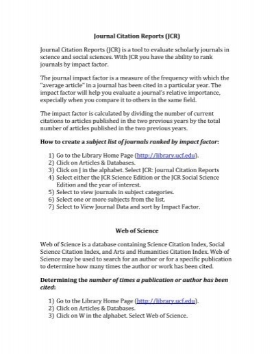 Journal Citation Reports - UCF Library