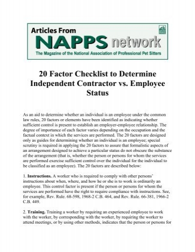 20 factor checklist to determine independent contractor vs