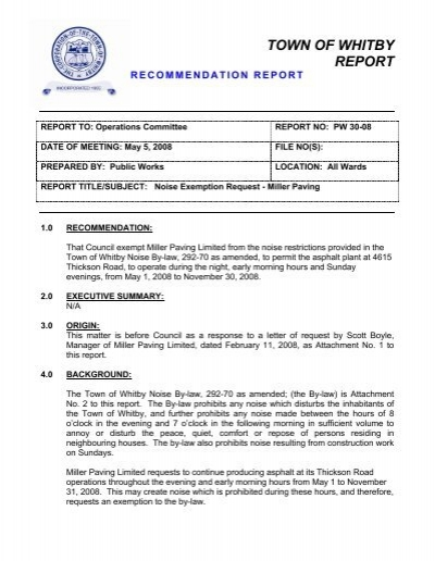 REPORT: No  PW3008: Noise Exemption Request     - Town of Whitby