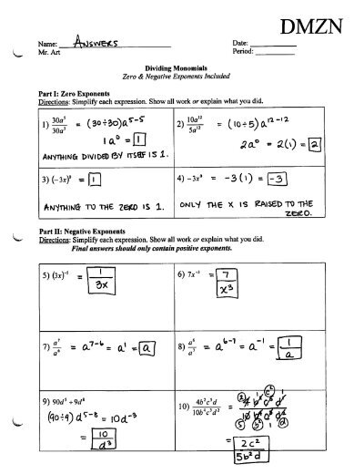 Dividing Monomials - Negative & Zero Exponents - Worksheet - DMZN