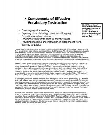 Components Of Effective Vocabulary Instruction