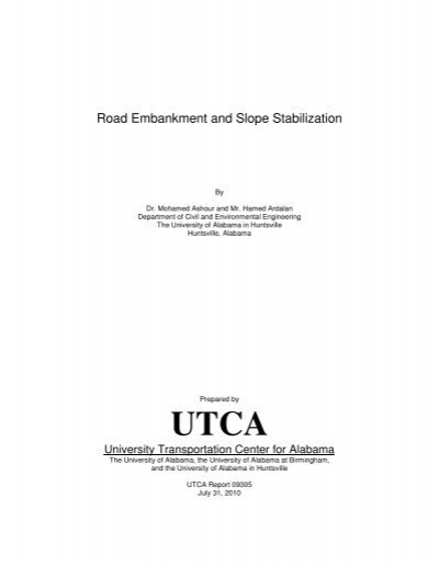 Road Embankment And Slope Stabilization University