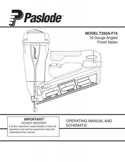 Paslode Angled Finish Nailer Parts Diagram Reviewmotors Co