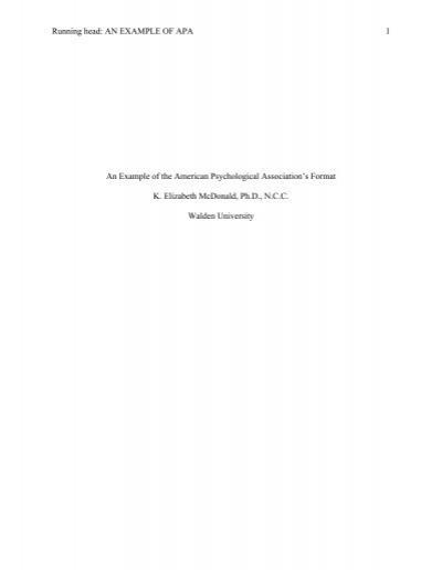 Apa style dissertation running head
