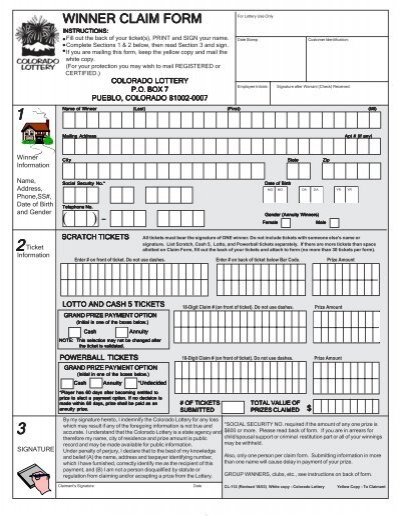 WINNER CLAIM FORM - Colorado Lottery