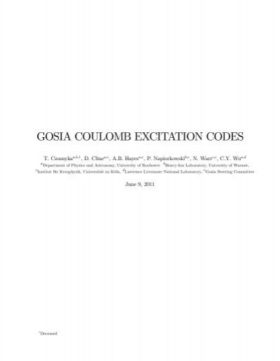 GOSIA COULOMB EXCITATION CODES - Physics and Astronomy ...