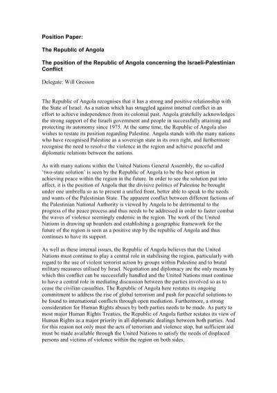 position paper israel palestine conflict