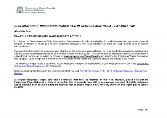 Indigenous Wages Declaration Form – Financial Declaration Form