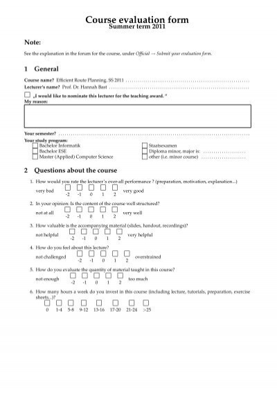 Course evaluation form adteachinginfor – Lecture Evaluation Form
