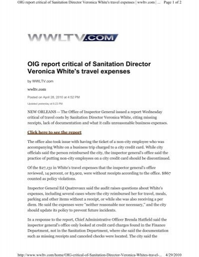 oig critical of sanitation director veronica white s travel expenses