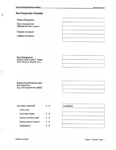 roof inspection checklist name of inspector date of opt osfns org