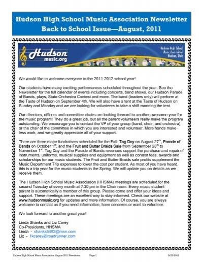 hudson high school music association newsletter back to school