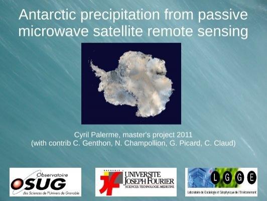 Antarctic Precipitation From Passive Microwave Antarctic Projects
