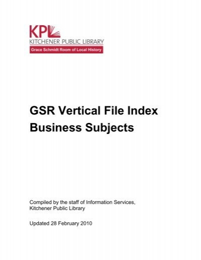 Gsr Vertical File Index Business Subjects Kitchener Public Library