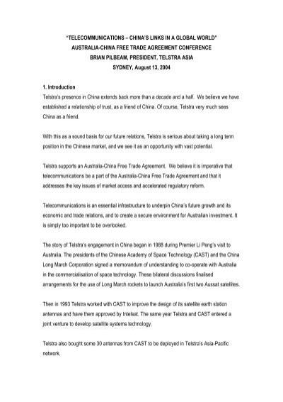 Australia china free trade agreement conference brian pilbeam pr platinumwayz