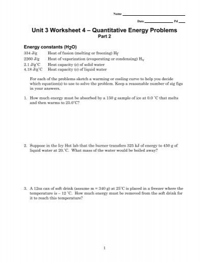 Unit 3 Worksheet 4 Quantitative Energy Problems