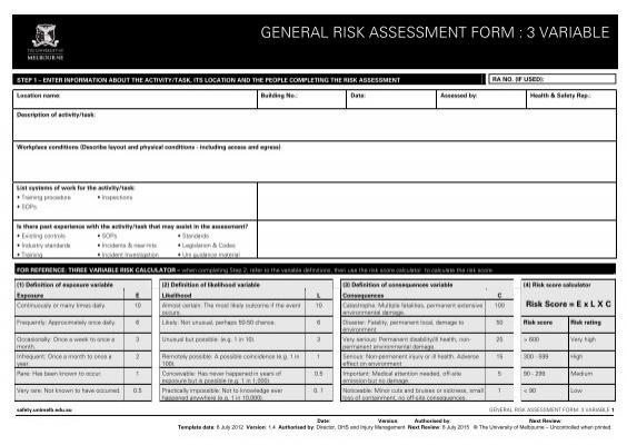plant - general risk assessment form - Safety - University of Melbourne