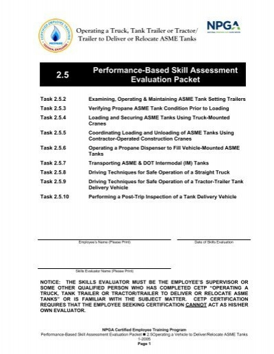Performance-Based Skill Assessment Evaluation Packet - National ...