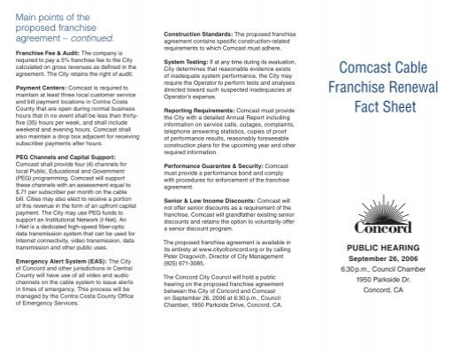 Comcast Cable Franchise Renewal Fact Sheet City Of Concord