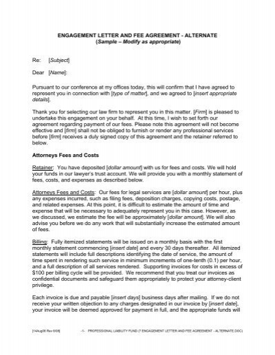 Engagement letter and fee agreement alternate engagement letter and fee agreement alternate spiritdancerdesigns Images