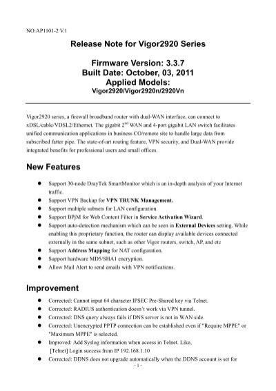 Release Note for Vigor2920 Series Firmware     - FTP - Draytek