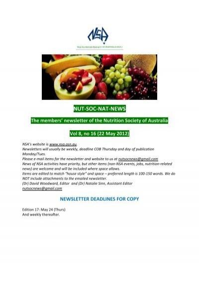 vol 8 no 16 22 may nutrition society of australia