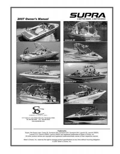 owner s manual supra boats rh yumpu com 2017 Supra Boats supra boat service manual