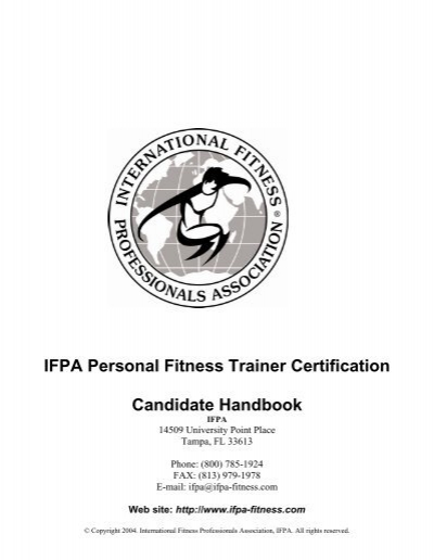 ifpa personal fitness trainer certification candidate handbook